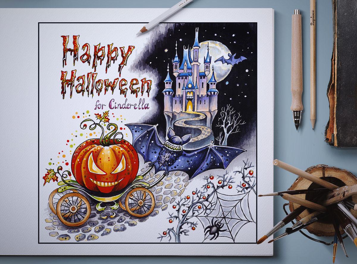 postcard ILLUSTRATION  hand made illustration Illustration for postcard marker illustration copic markers hand drawn Halloween cinderella fairytale