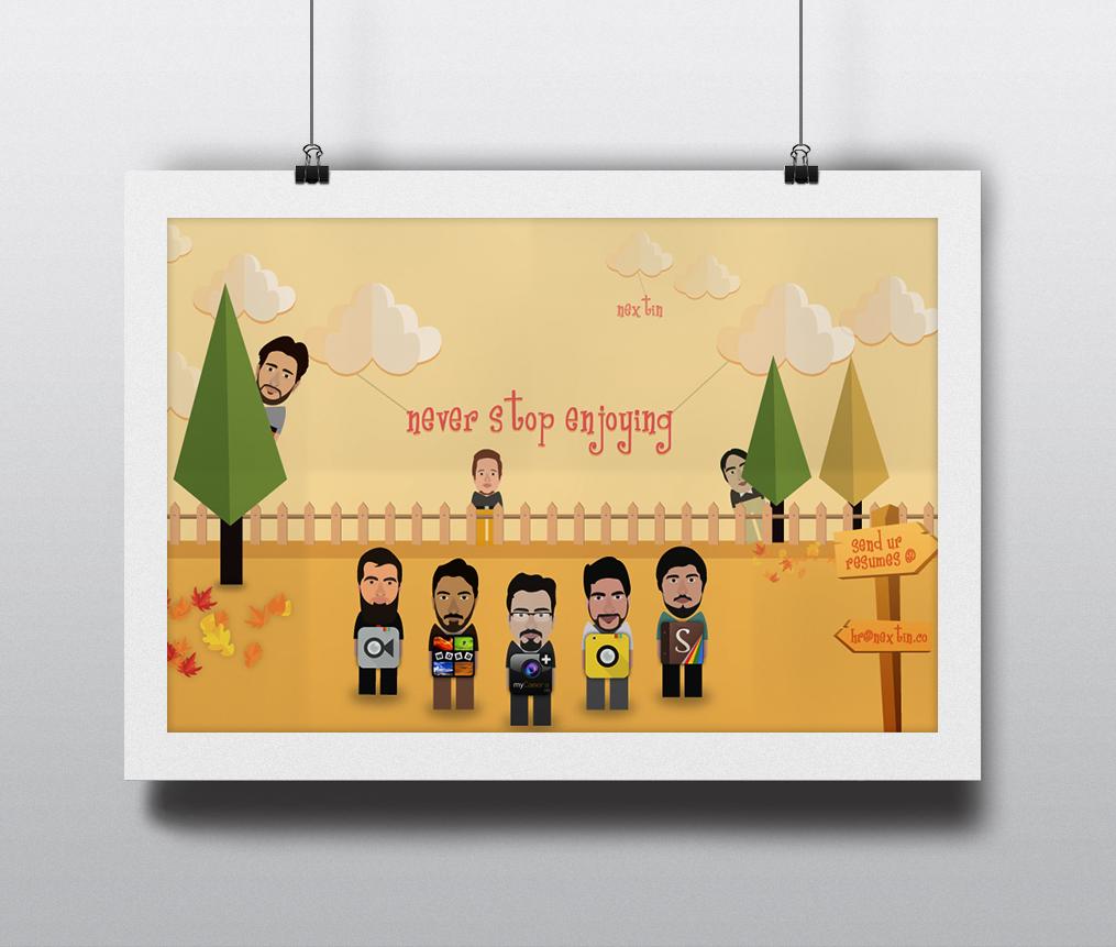 nextin Creativity designing posters Art Design team work animated cartoon Cartoon Designing Character design