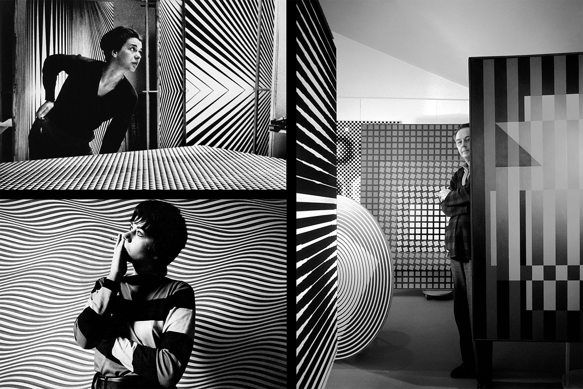 Inspirational mood board for Casa Cardona wines with portraits of Bridget Riley and Victor Vasarely