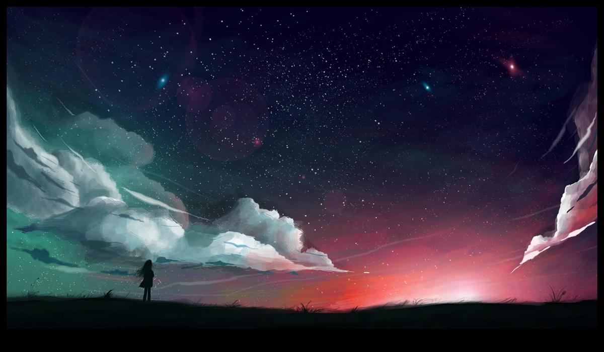 stars  landscape  sunset  sunrise  dawn girl clouds colors colorful Silhouette SKY night
