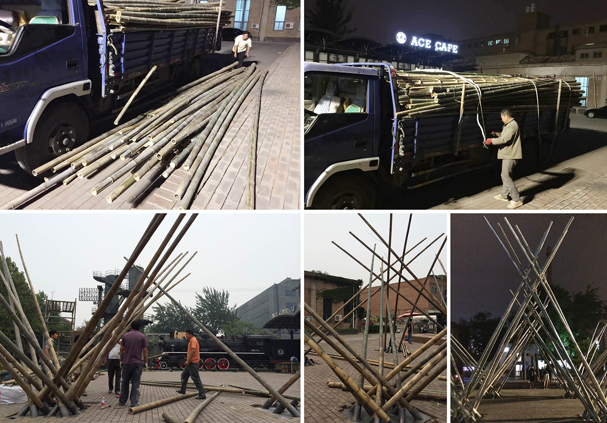 Penda bamboo structure diagrid Nature plants forest material ecological Sustainability green modular system chris