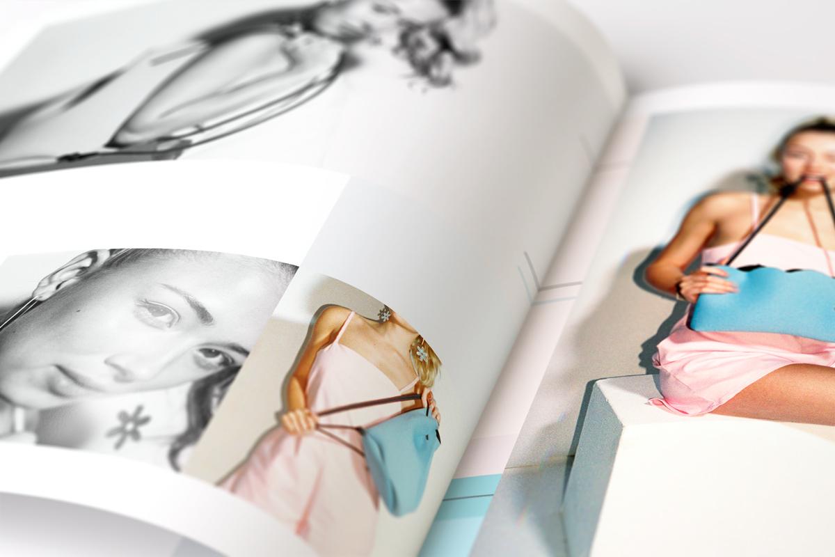 Layout design photo story behind Sun pastel Pastels pink yellow bikini model swatch colour magazine