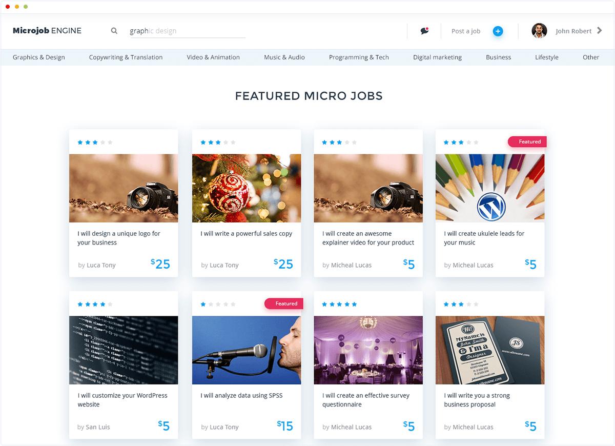 create a website like fiverr com using microjobengine on behance homepage of microjobengine wordpress micro job marketplace theme