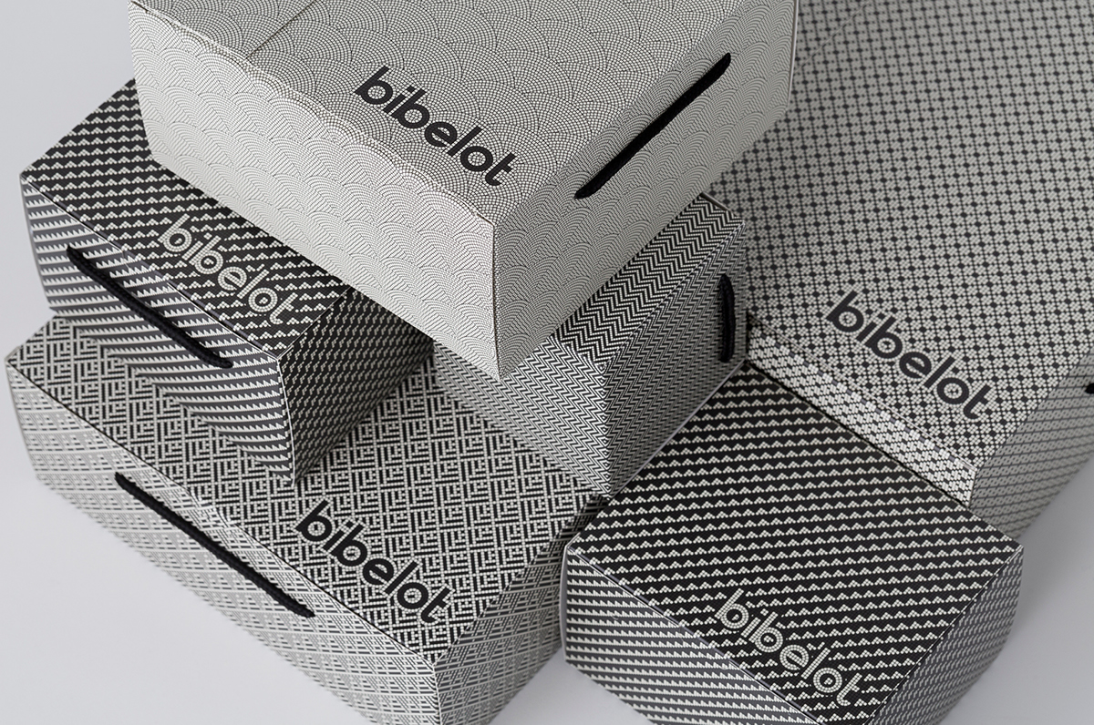 mosaic Tiling pattern Signage Patisserie dessert custom typography Food Packaging chocolate stickers box bold suite interiors monotone