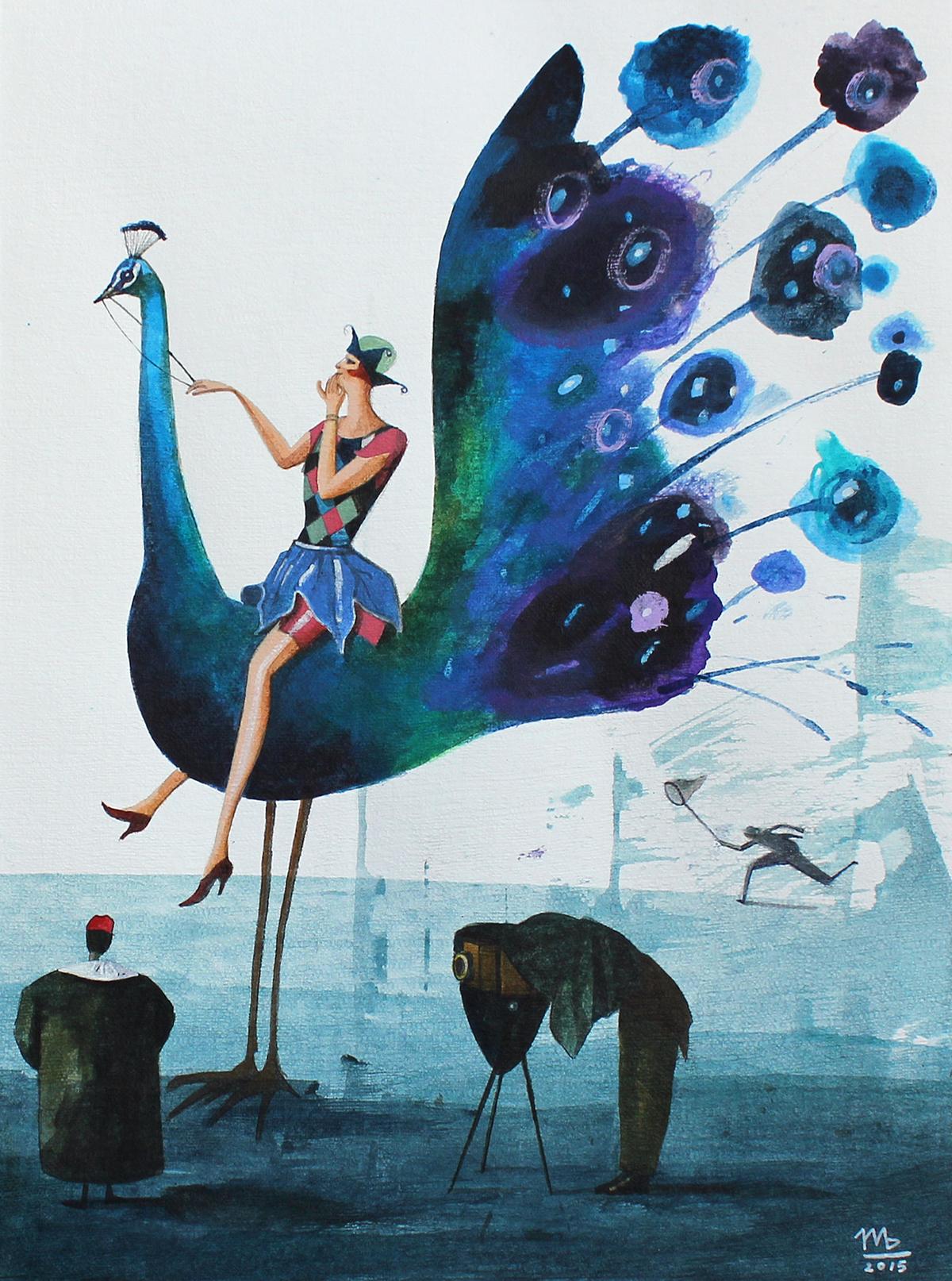 storytelling   peacock fairytale blue