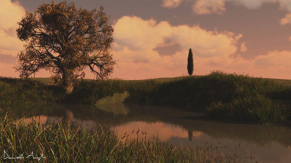 Tuscany,Orcia Valley,Digital Art ,Landscape,digital nature,graphic design ,ILLUSTRATION ,art