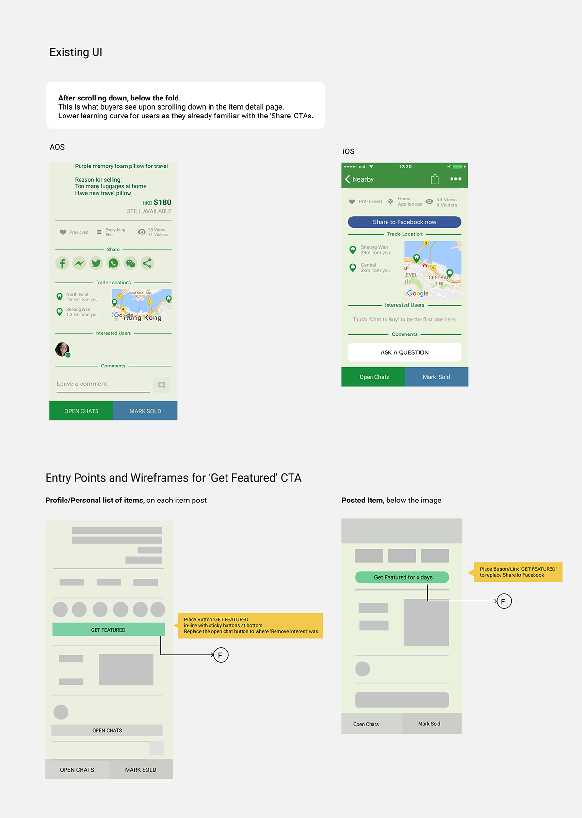 Bump Case Study Ecommerce feature Get Featured listing Promote Listing shopping app UI ux