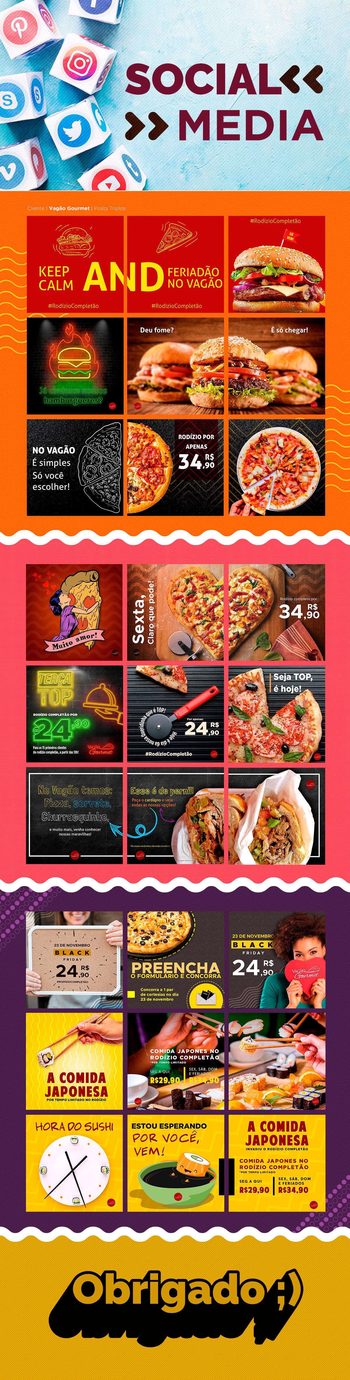 Food  gourmet restaurante social media Midia sociais design grafic design