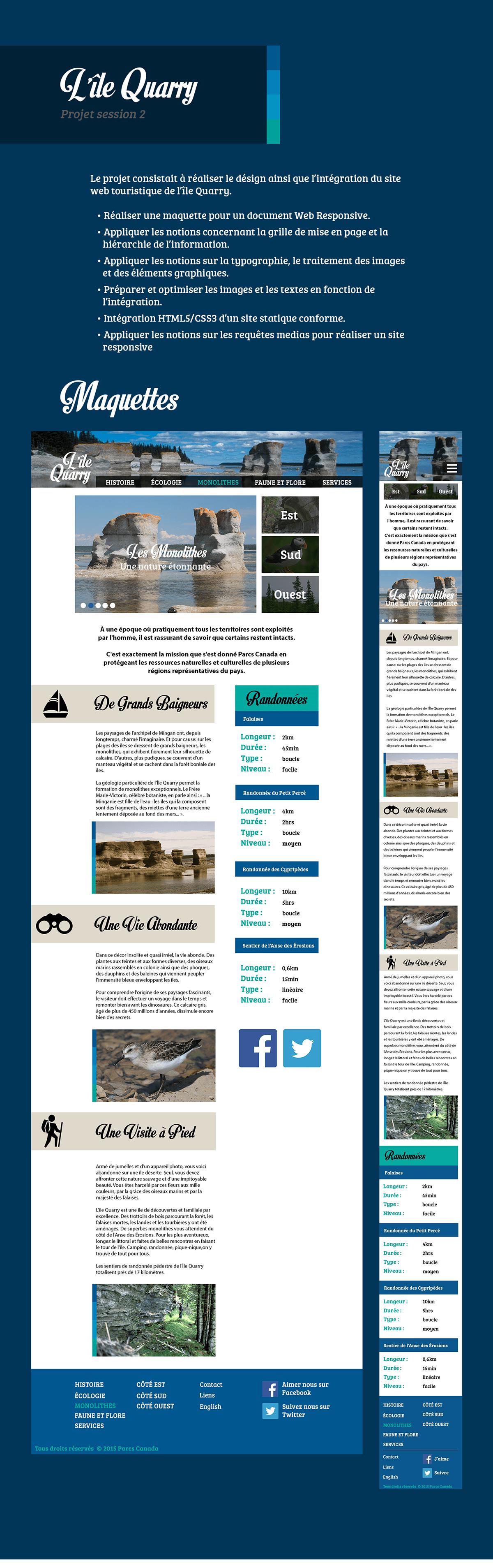 ile Nature Interface Web Responsive design Monolithes
