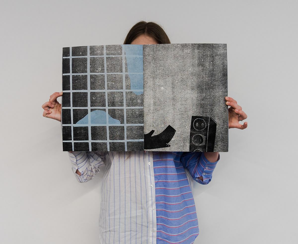 woodcut linocut book black White printmaking graphics artistbook pinkfloyd blue