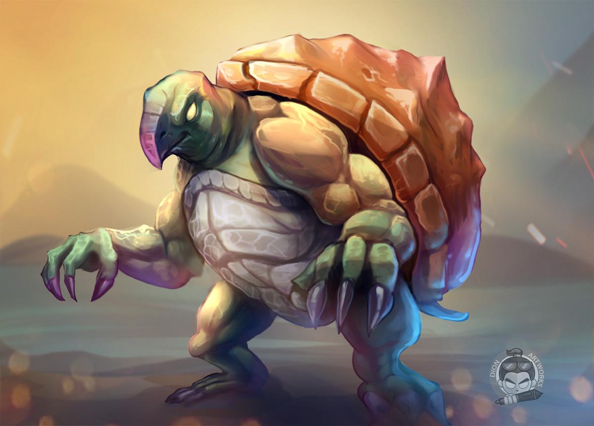 Character concept Digital Art  game ILLUSTRATION  monster tortoise