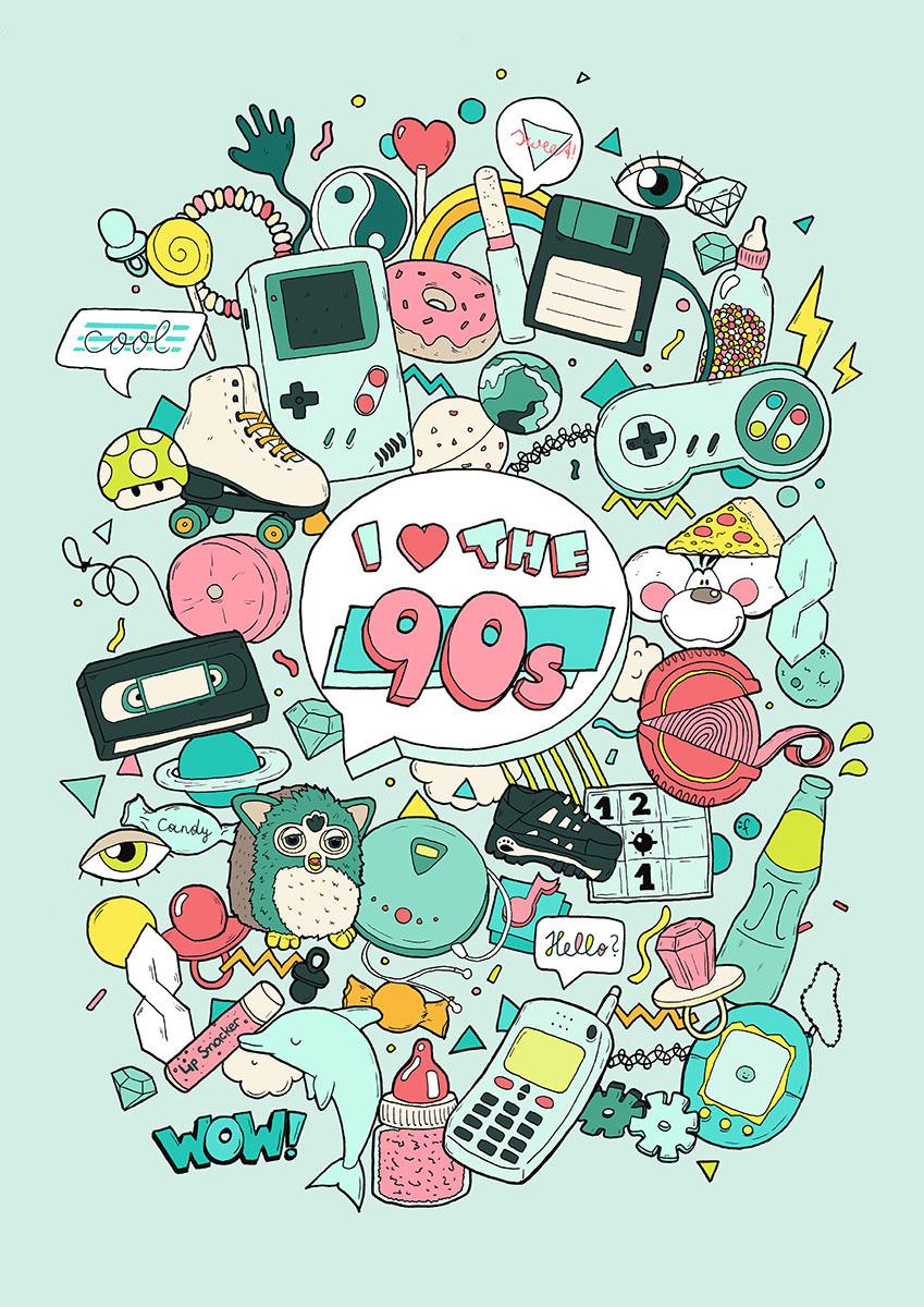 90s 90er Coolshit old Furby tamagotchi donut Nintendo pastel softcolours 90skid