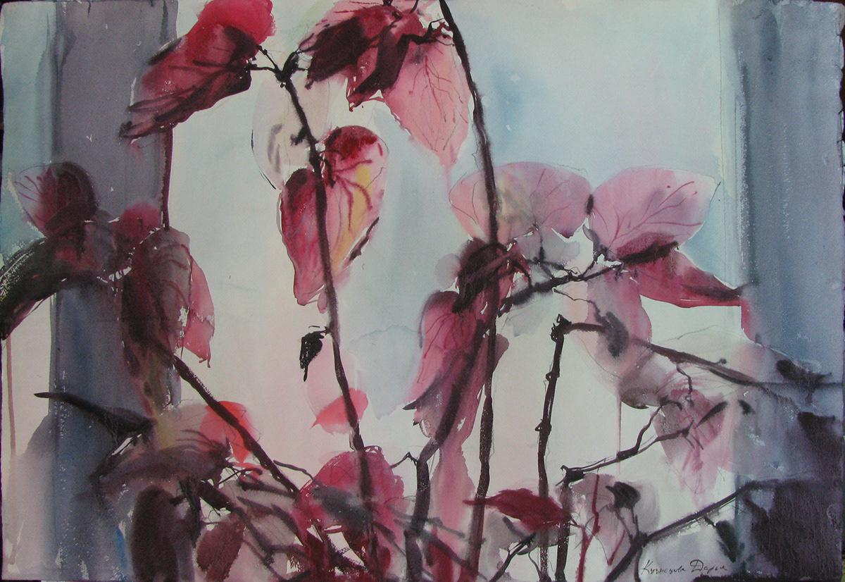 Flowers graphic art impressionism russian artist watercolor акварель анютины глазки цветы лилии