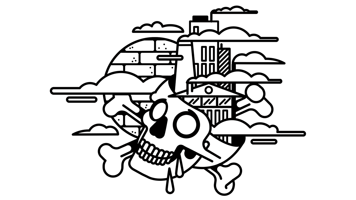 black and white bnomio editorial ILLUSTRATION  lineart skull vector ilustracion magazine geometric