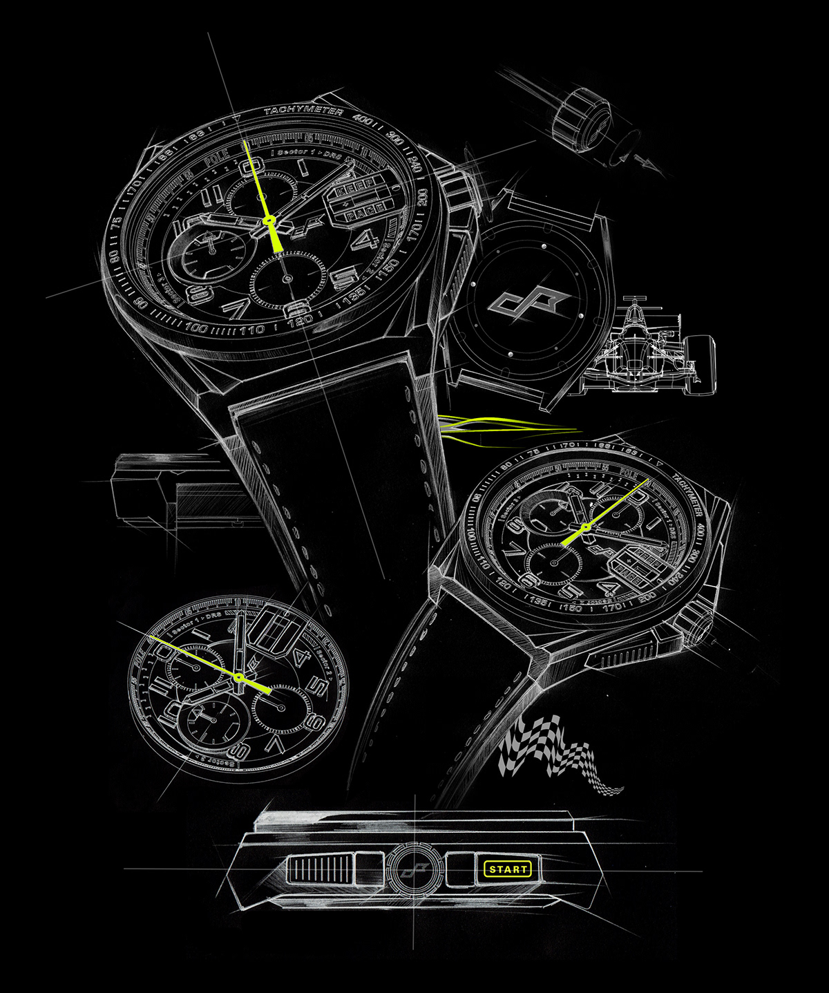 watch sketches for F1 racing
