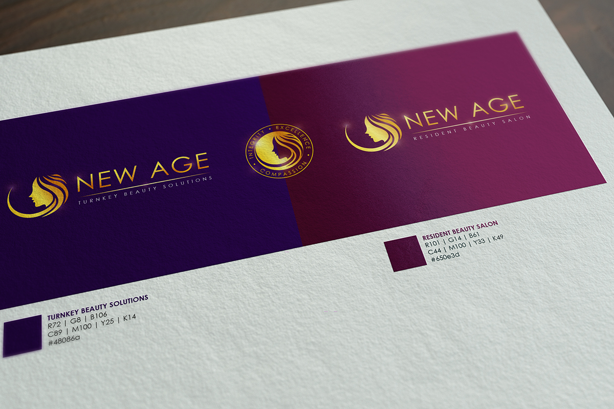 New Age Hair Care Group Branding on Pantone Canvas Gallery