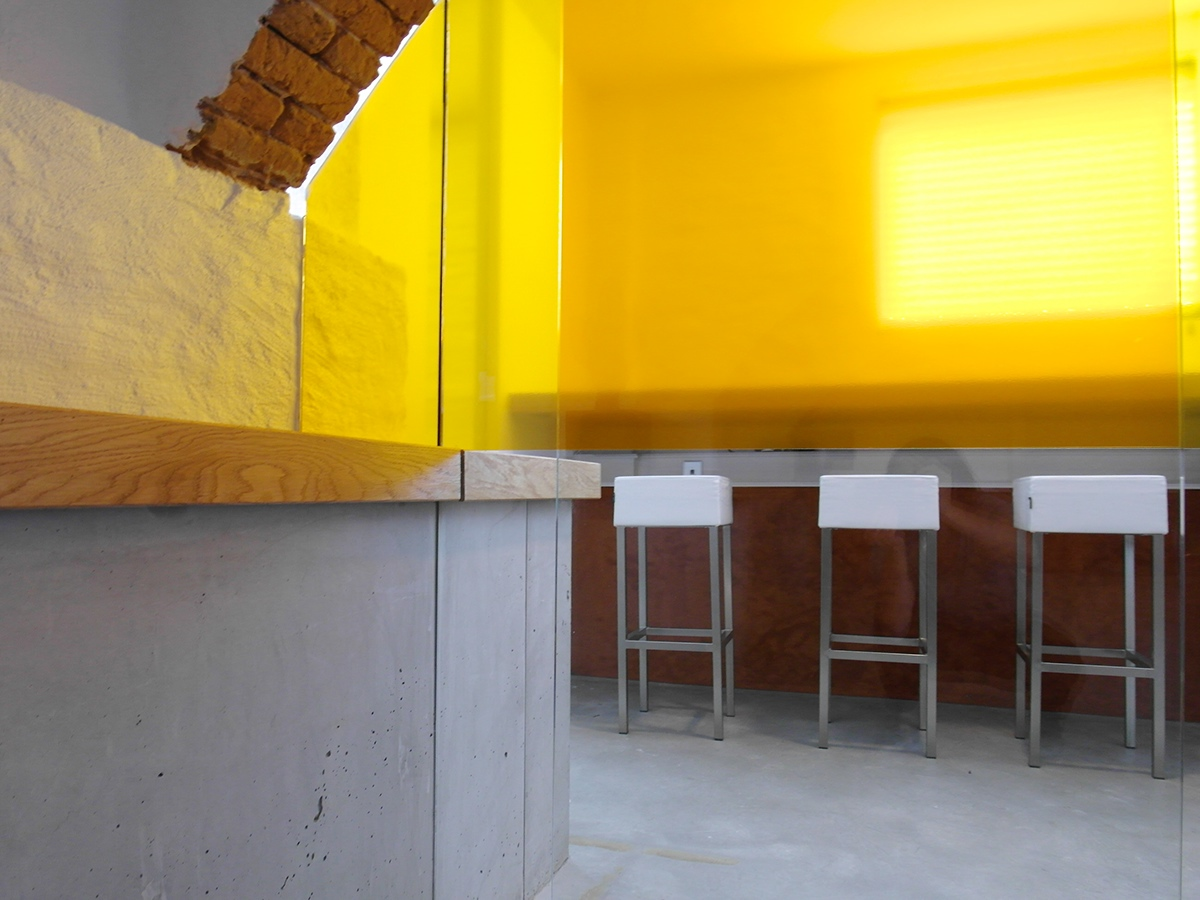 basement Office in church colourful office Office table design