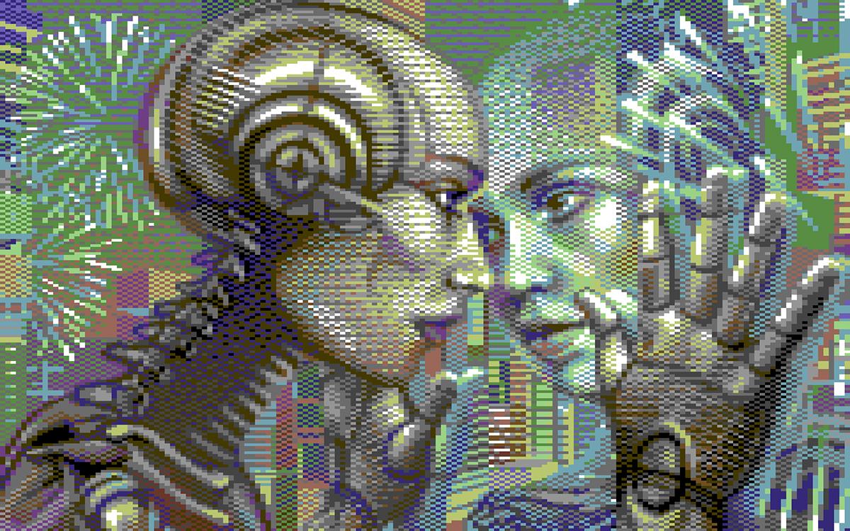 commodore 64 portrait woman mirror reflection robot pixel Pixel art 8-bit demoscene pixel-art pixel graphics