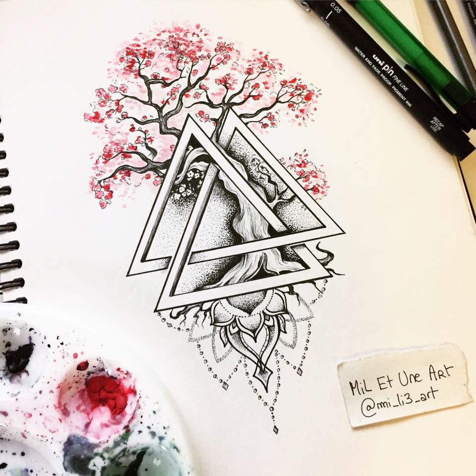 watercolour dotwork bonsai tattoo design on behance. Black Bedroom Furniture Sets. Home Design Ideas