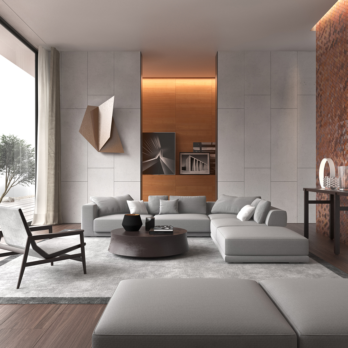3d poliform inspiration on behance for Living room 3ds max
