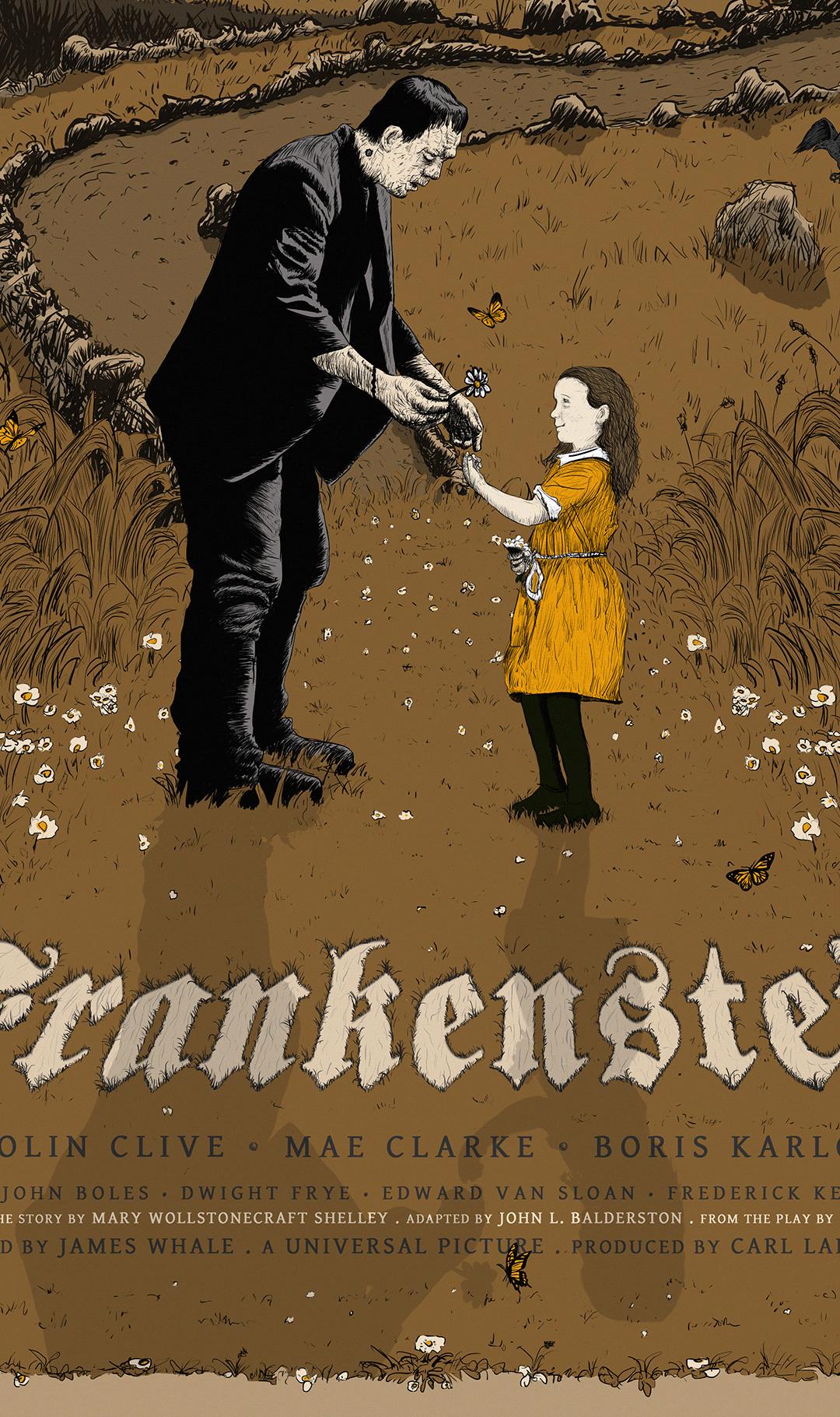 frankenstein ILLUSTRATION  macabre movie poster print raven book cover ilustration