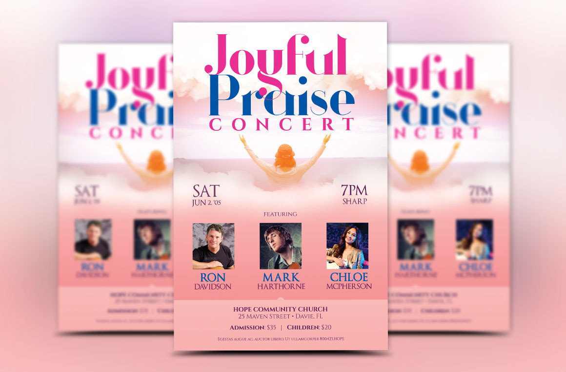 Praise Concert Flyer Template Is For Any Kind Of Church Event Album Release And More The Modern Design With Light Friendly Colors Will Appeal To A