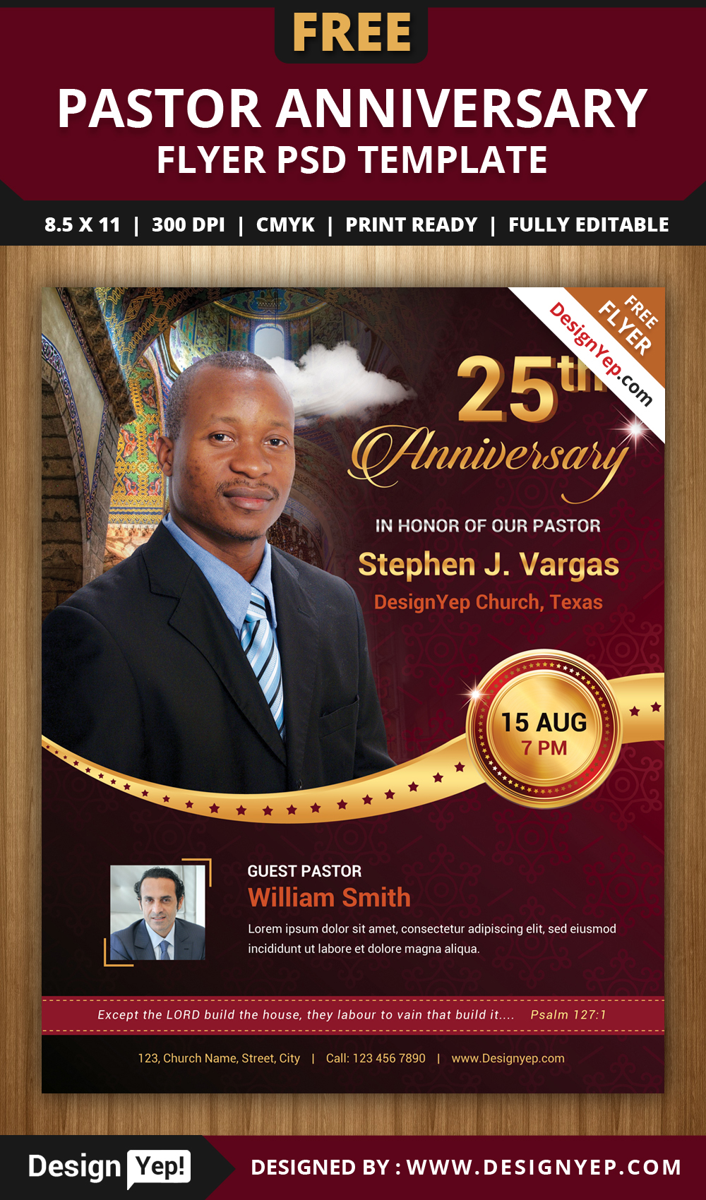 Free Pastor Anniversary Flyer Psd Template On Behance