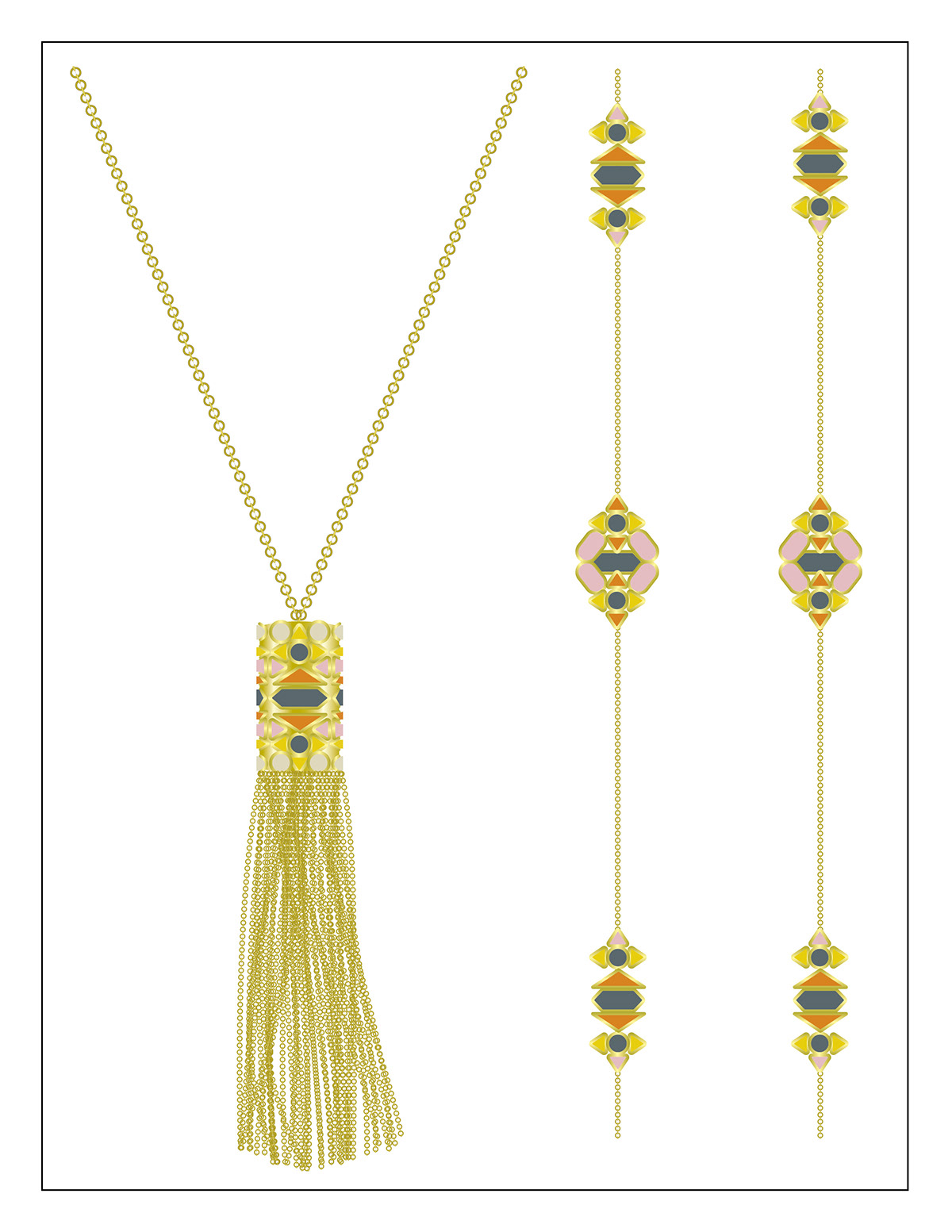 Illustrator Necklace jewelry line sheets illustrated jewelry spec sheets Technical Drawings Fashion  fashion jewelry ILLUSTRATION