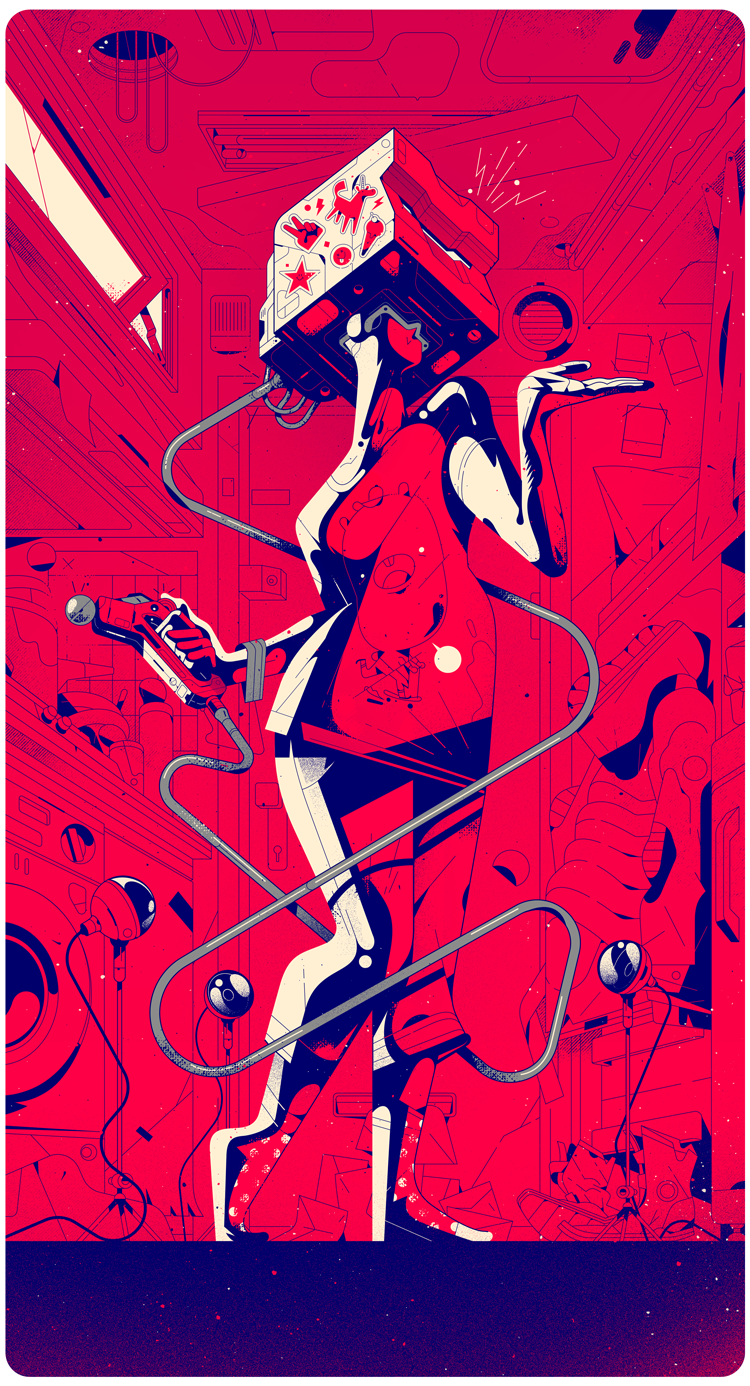 vr Scifi vector Character High Contrast linework
