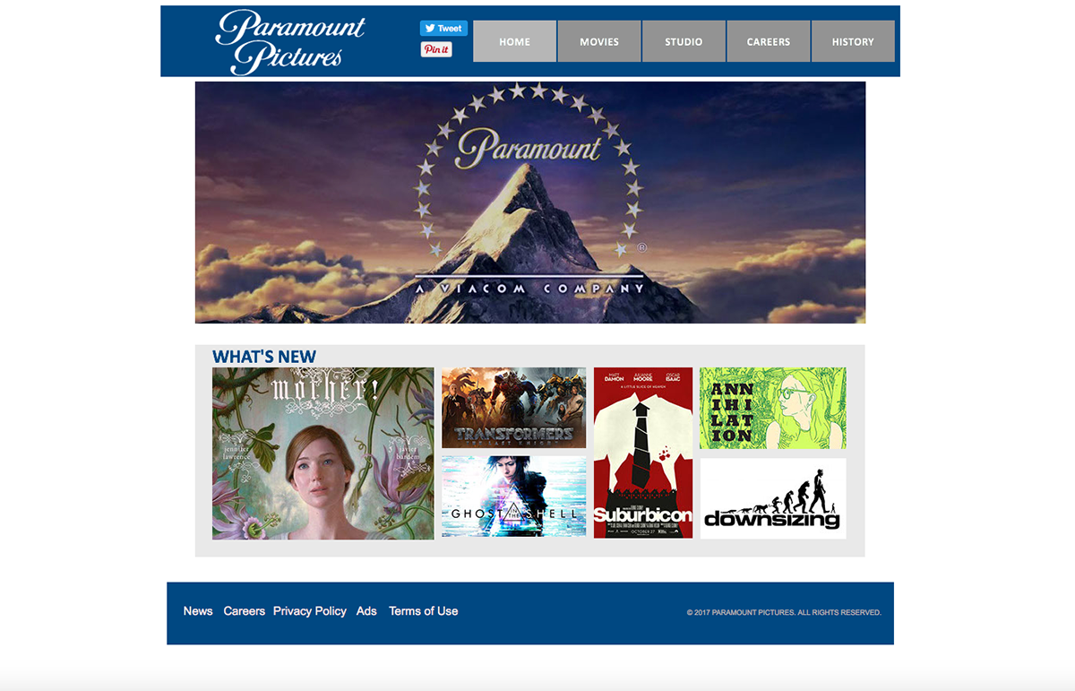 Paramount Pictures Webpage on Behance
