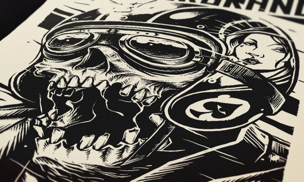 skull biker Helmet straight to hell shirt print liquor brand Clothing dark speed