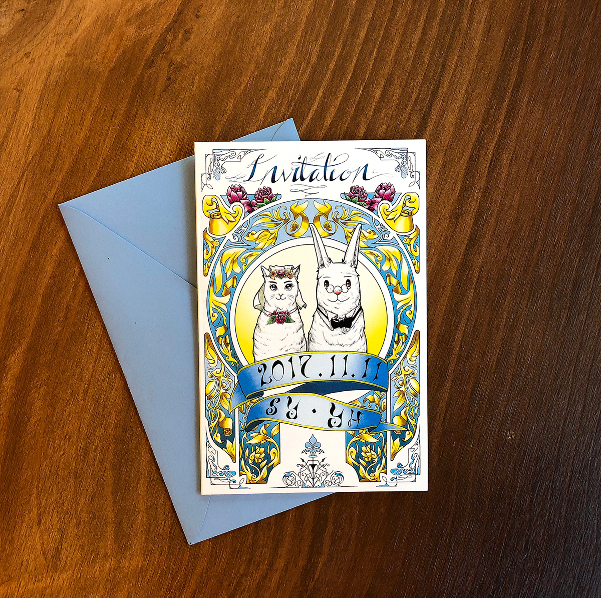 wedding Invitation Card decoration lettering rabbit Cat Character Greetings card cute ornaments