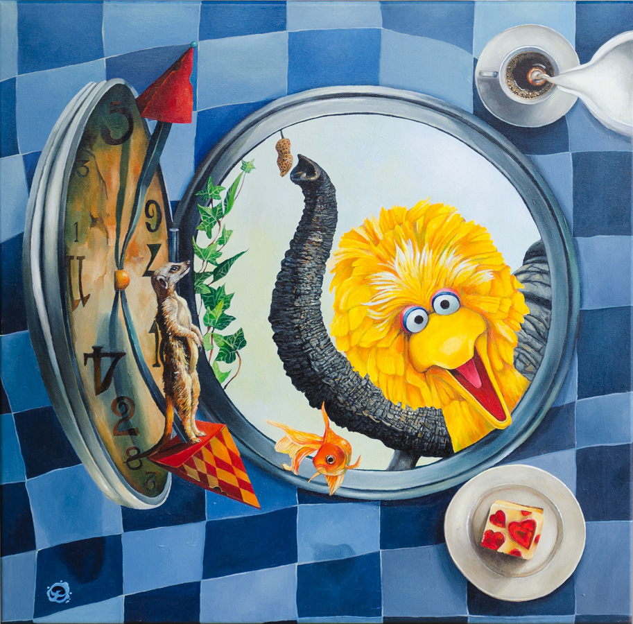 surrealism Magic   Paintings big bird clock