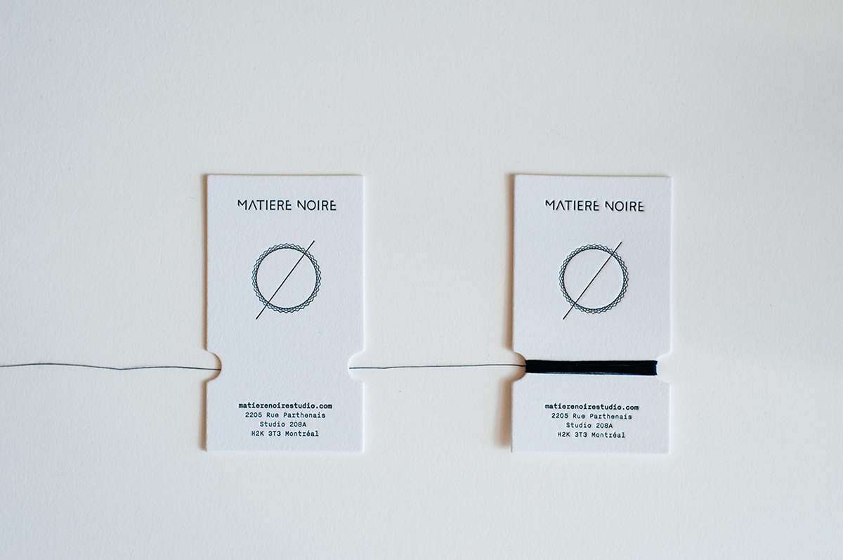 Matire noire handmade business card on behance letter pressed on 100 cotton lettra fluo white paper and each card hand wrapped with natural black cotton thread that helped connecting raw materials used colourmoves