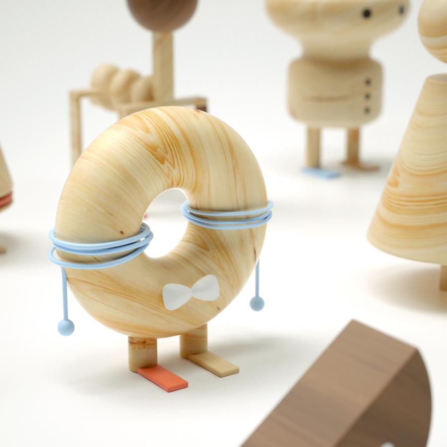 3D 3D illustration Bestiary cinema 4d donut geometry minimal Octane Render Quarantine wood