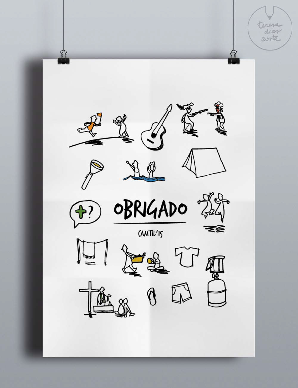 vector drawing camping Games playing kids children thank you postcard portuguese