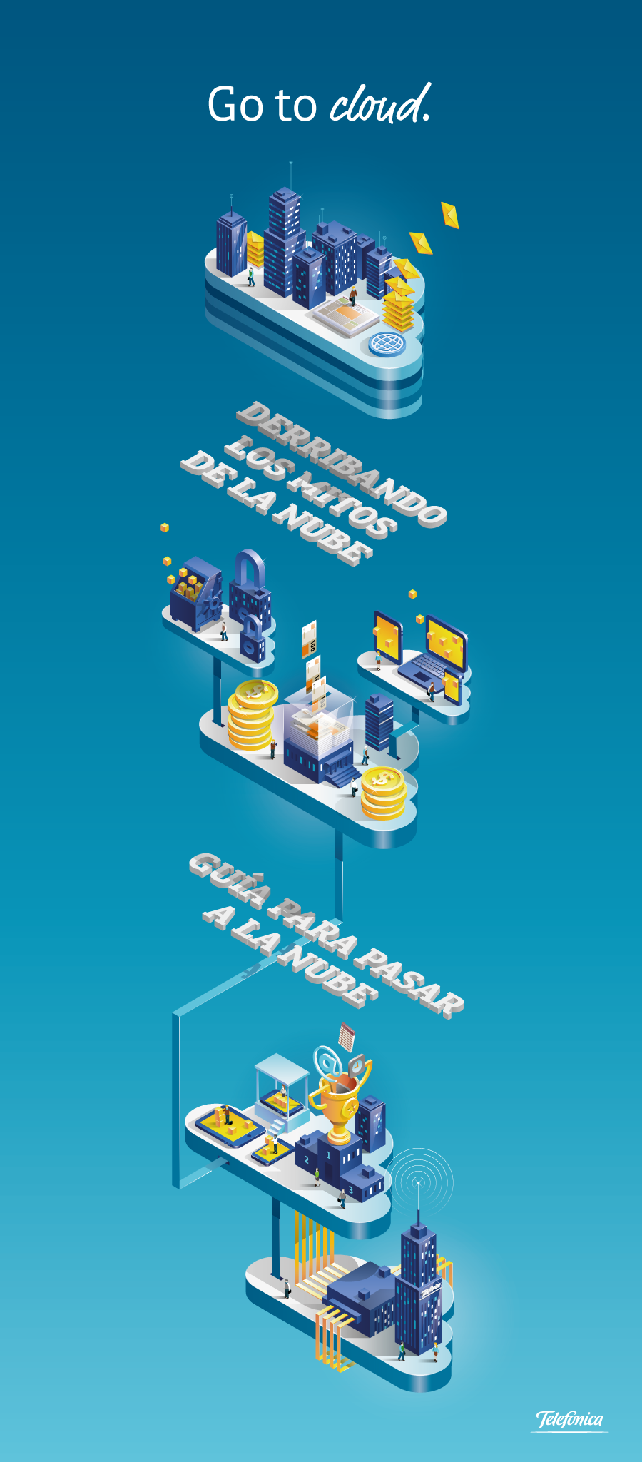 cloud computing infographic devices tech Isometric vector