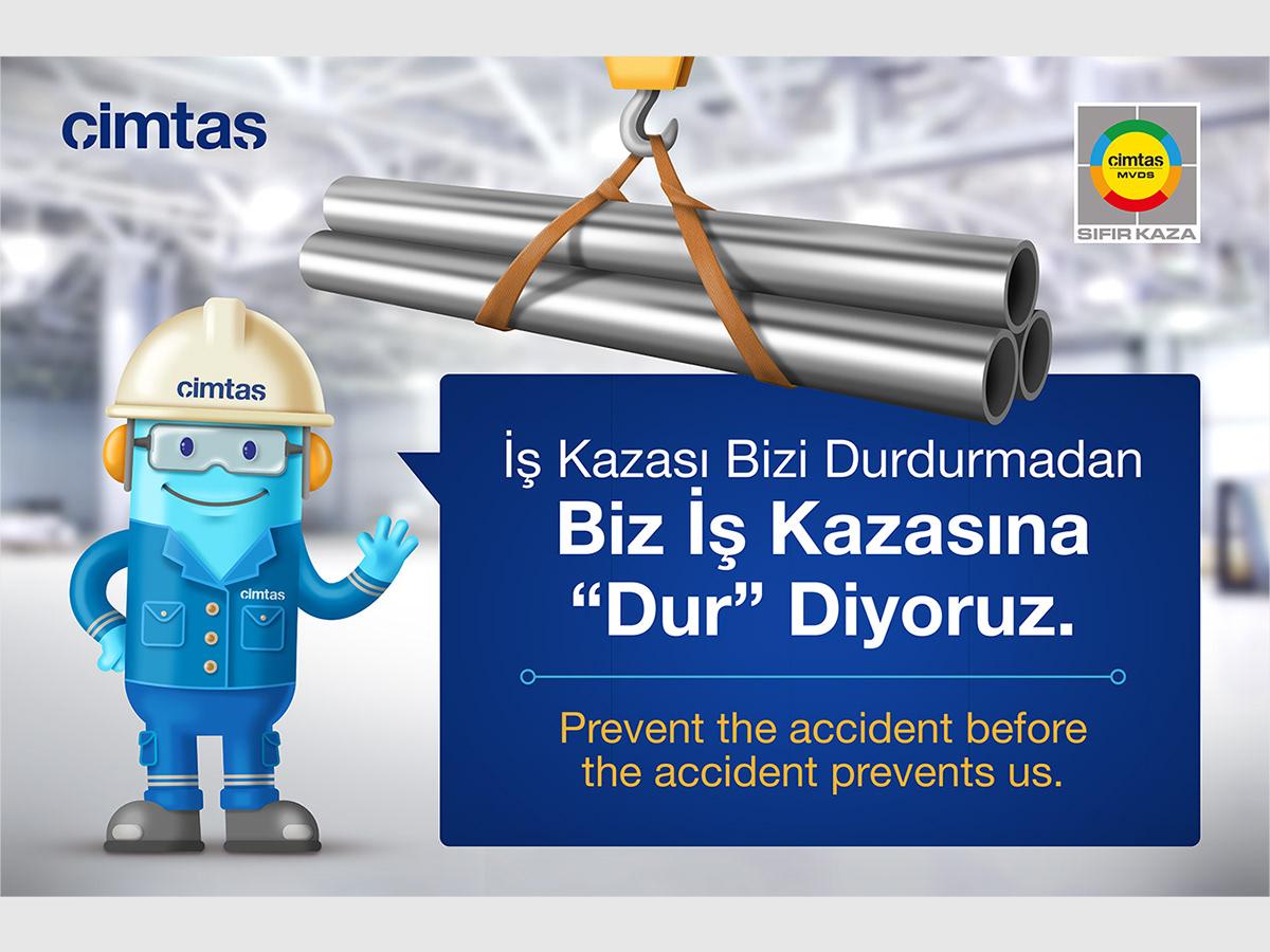 Character çimtaş design Helmet Pipe poster safety Work