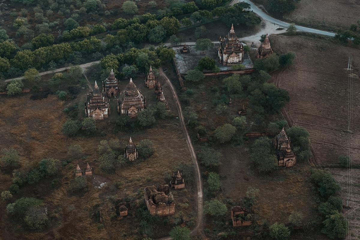 temple bagan mandalay myanmar Film   green Aerial