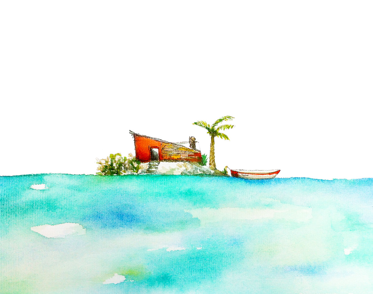 watercolor pen and ink Landscape