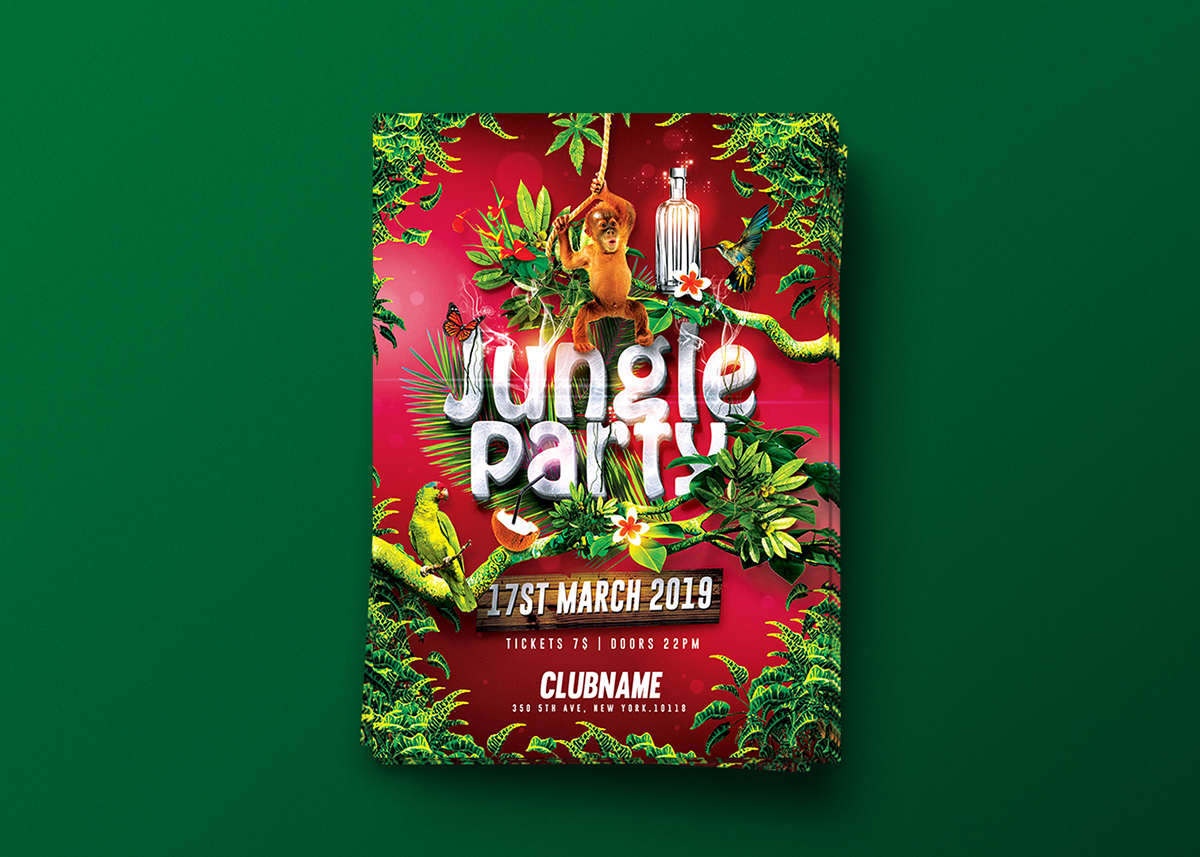 jungle party tropical flyer template on behance