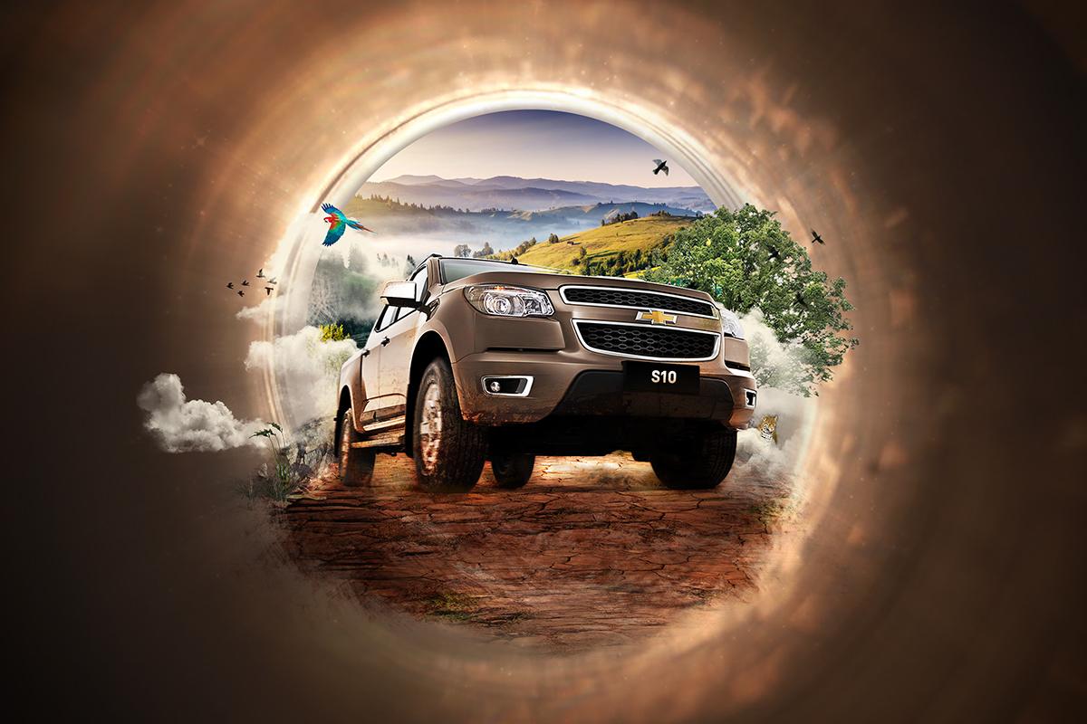 chevrolet S10 Descoberta estrada Manipulação da foto Van earth