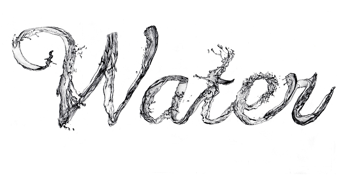 Water Font Drawing On Behance
