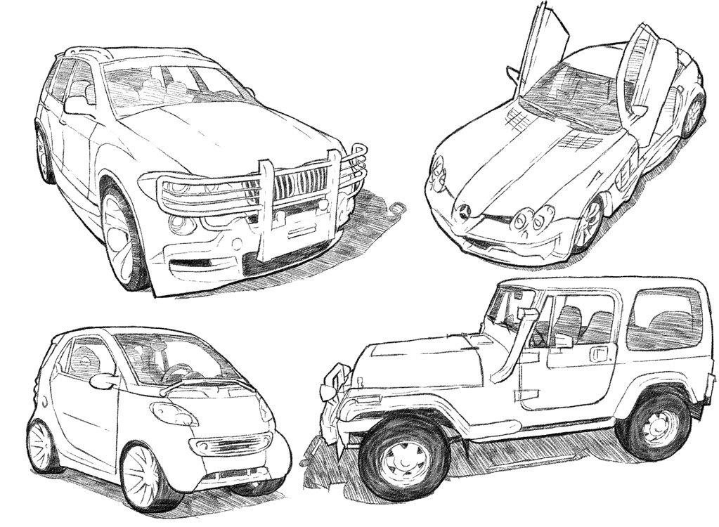Line Drawing Vehicles : Car drawing techniques on behance