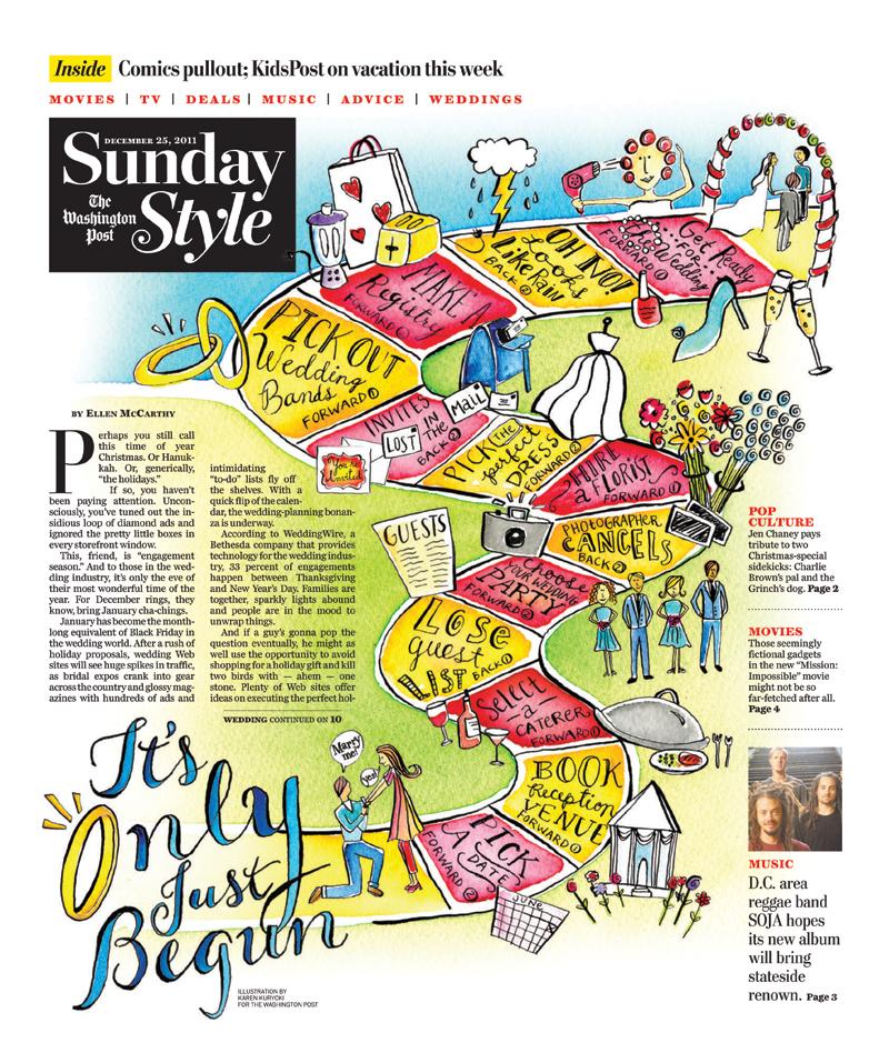 Adobe Portfolio Washington Post  editorial watercolor wedding bride bridezilla color paint colorful hand-drawn type