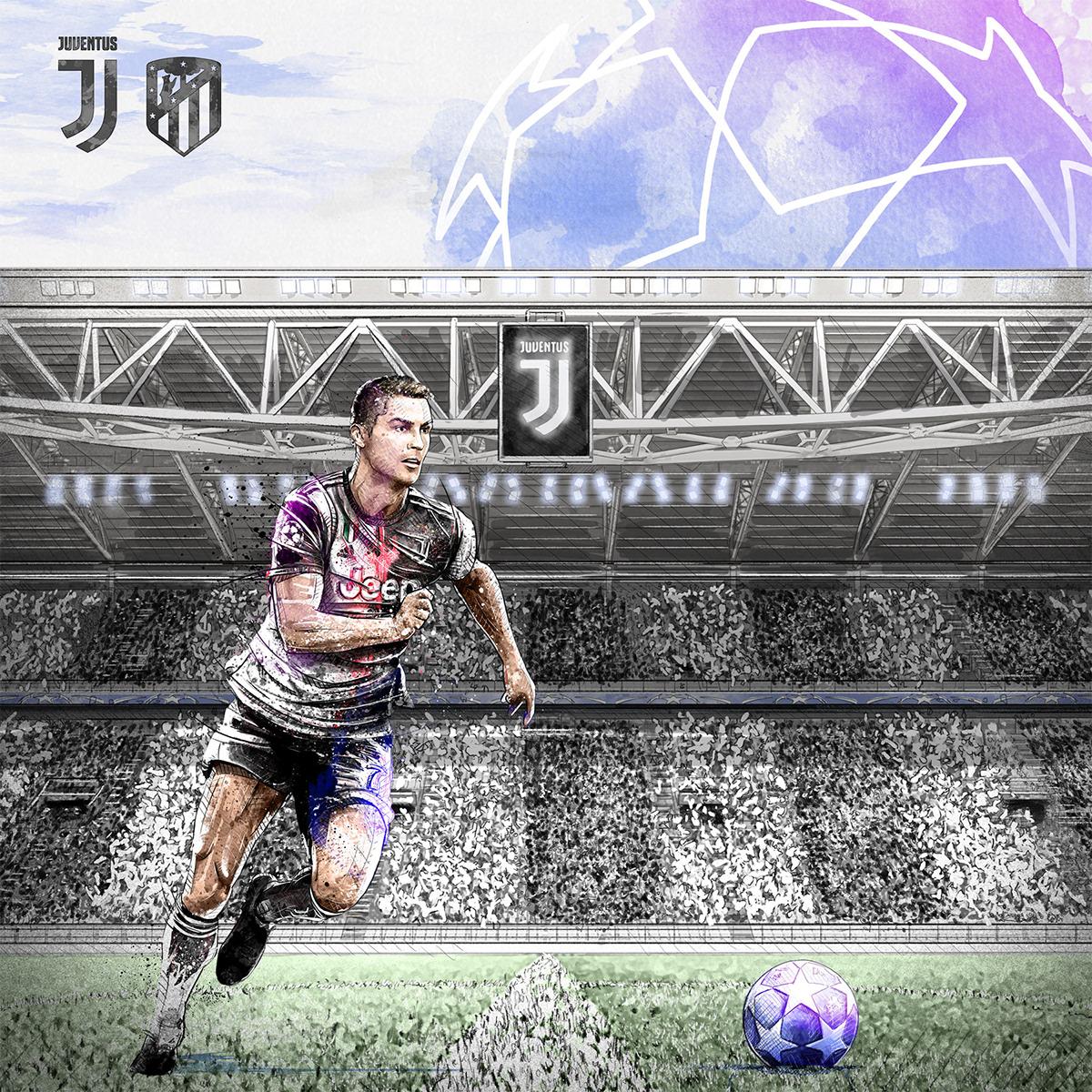 athletes champions league Dynamic football Juventus Ronaldo soccer sport sportive watercolor