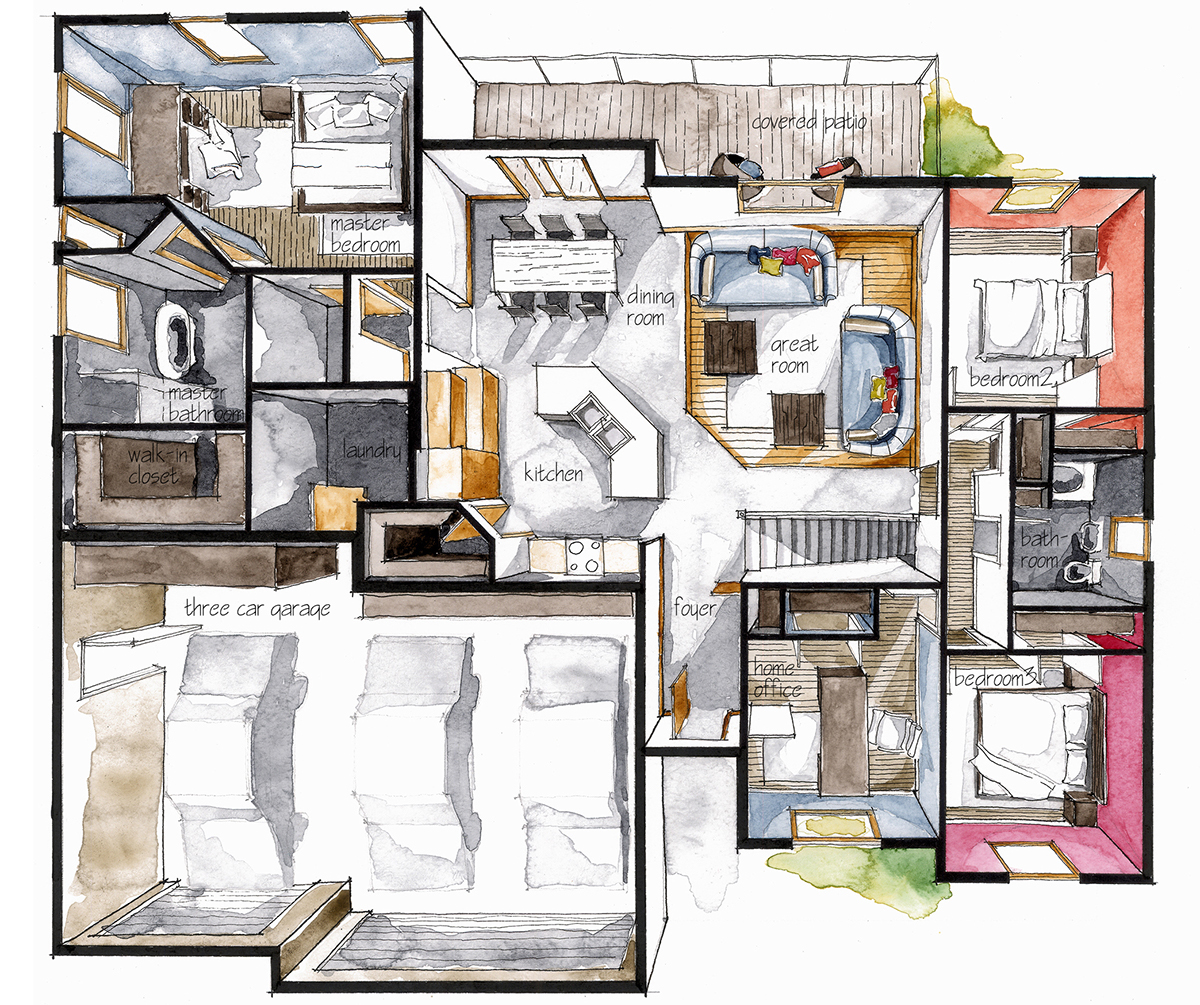 Real Estate Watercolor 3d Floor Plan Iii On Behance