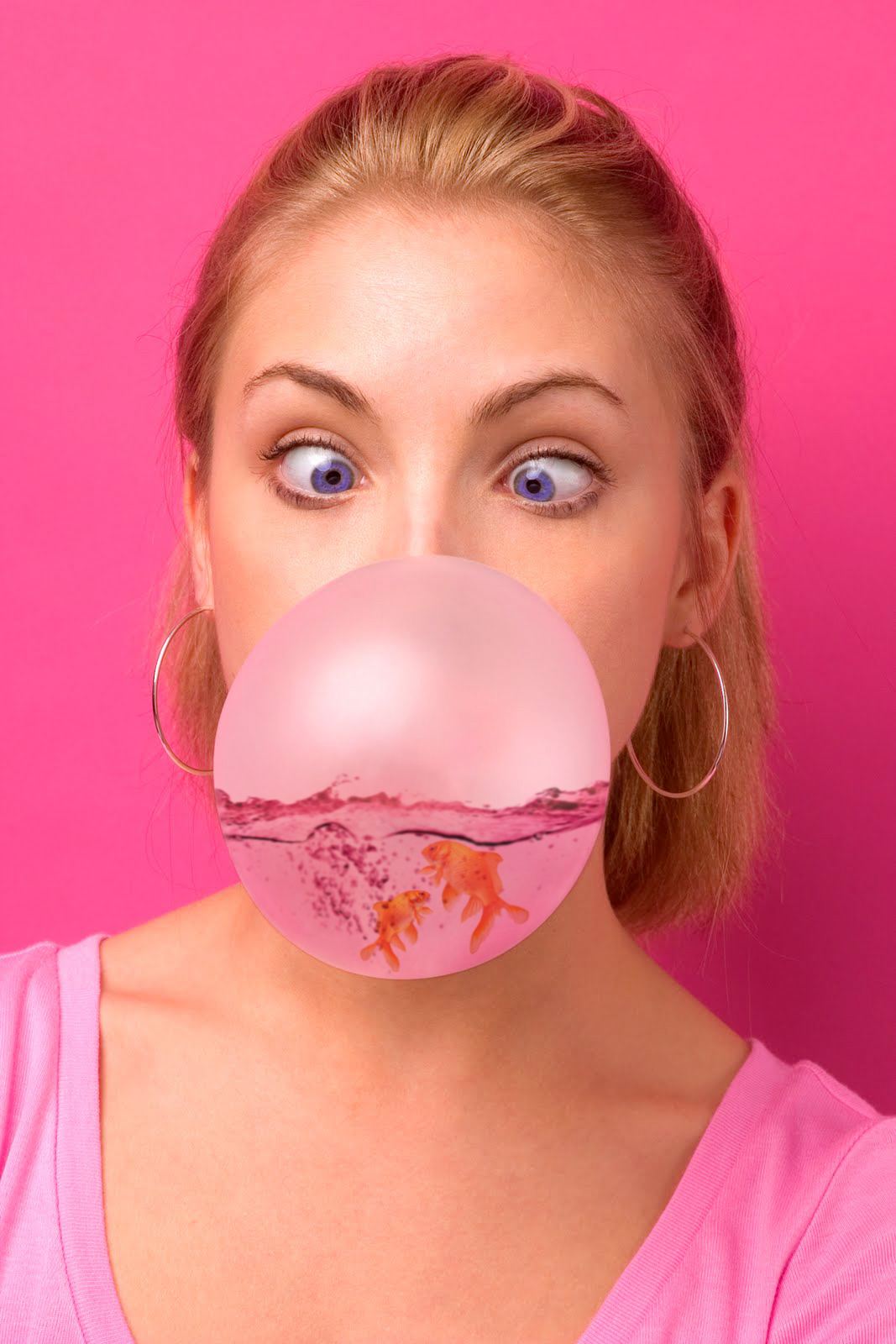 Portrait girl blowing chewing gum high resolution stock photography and images