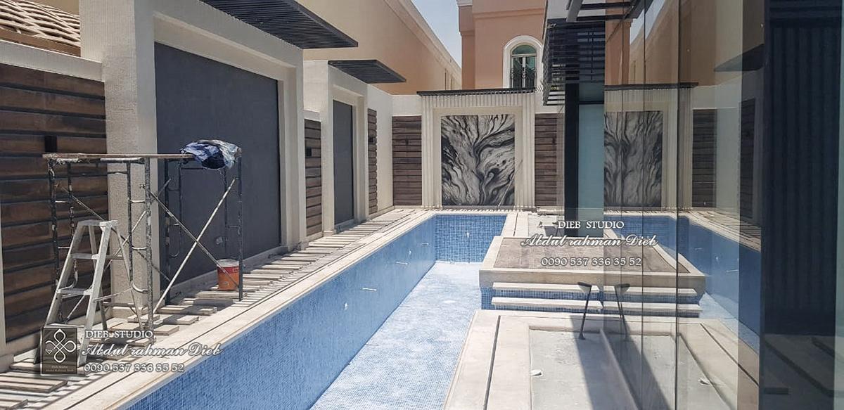 vray Landscape green wall 3ds MAX home Villa swimming Pool
