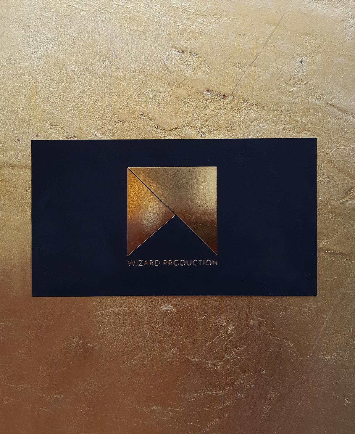 Wizard Production - Golden foil black business card on Behance